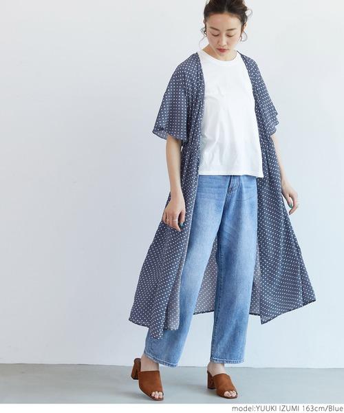 [coca] 2way袖フレアドットワンピース