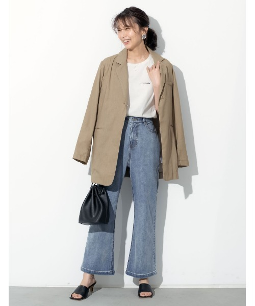 [Re:EDIT] [近藤千尋さん着用][涼感][お家で洗える]リネンブレンドボタンベルト付きジャケット