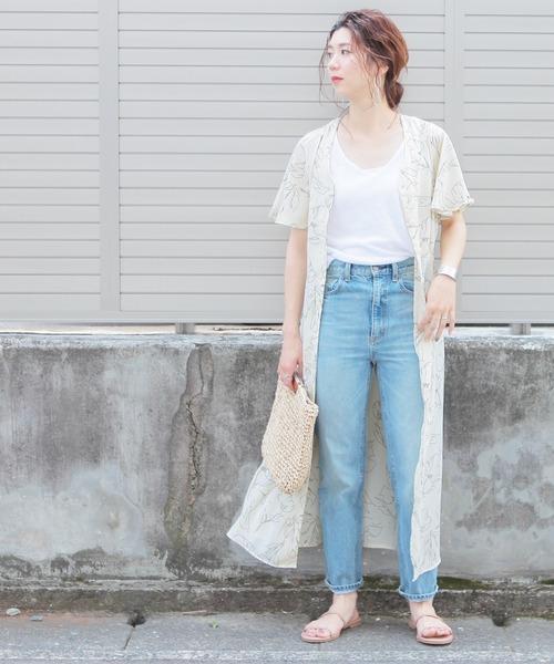 [reca] 花柄フレア袖2wayシャツワンピース