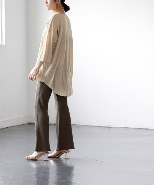 [titivate] バックハイスリットシアーカットソーTシャツ