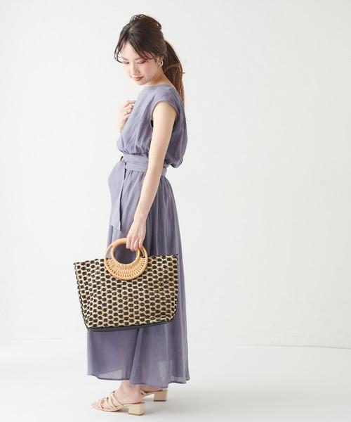 [natural couture] 【WEB限定カラー有り】変形べっ甲ベルト涼しげワンピース