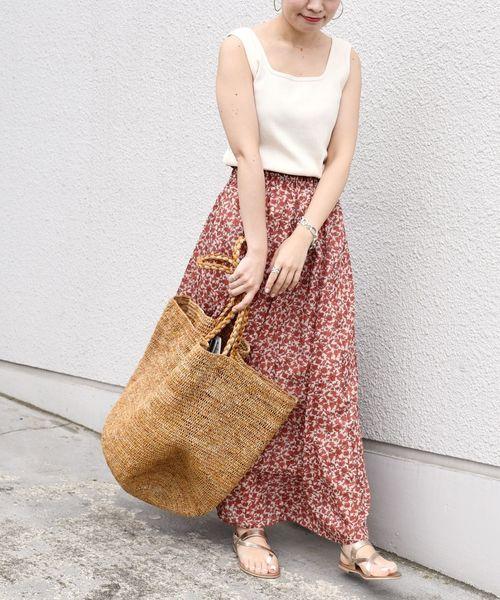 [SHIPS for women] フラワープリントマキシスカート