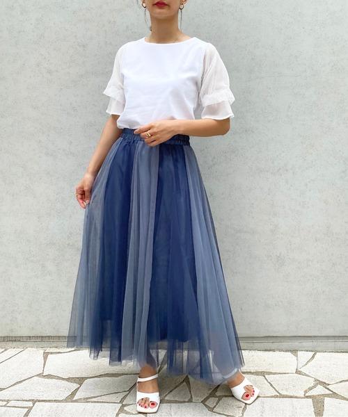 [StyleSea] ツートーンチュールフレアスカート
