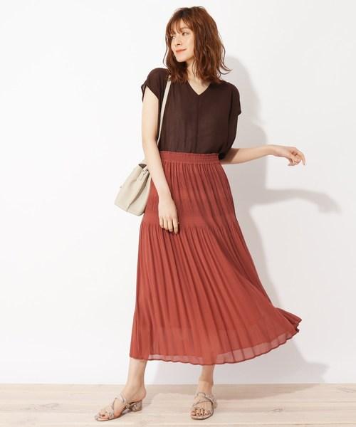 [grove] 【LLあり】マジョリカプリーツスカート