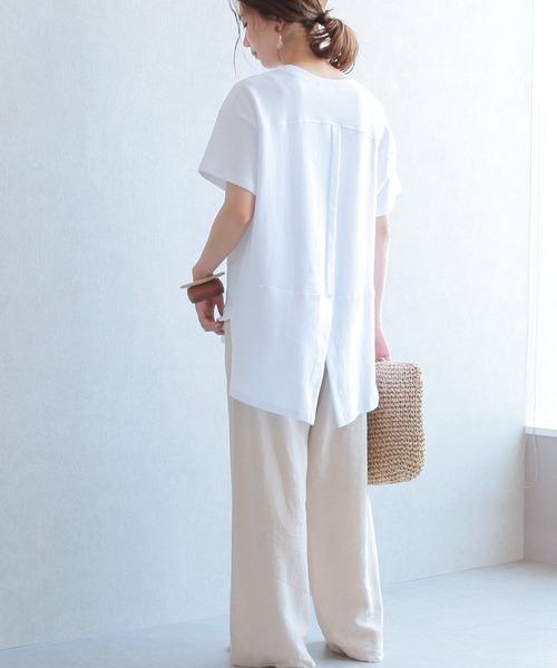 [reca] アンバランス丈バックスリット 切り替えデザインTシャツ(半袖)