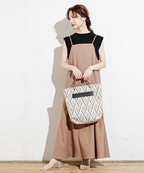 [natural couture] 【WEB限定カラー有り】前後2WAY貝釦綿麻キャミワンピース