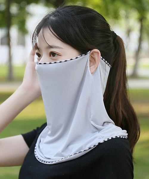 パステルカラーのUVフェイスガード冷感マスク