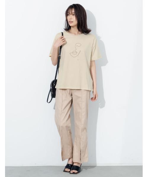 [Re:EDIT] [UVカット][抗菌防臭加工][お家で洗える]クルーネックニュアンスフェイスプリントTシャツ