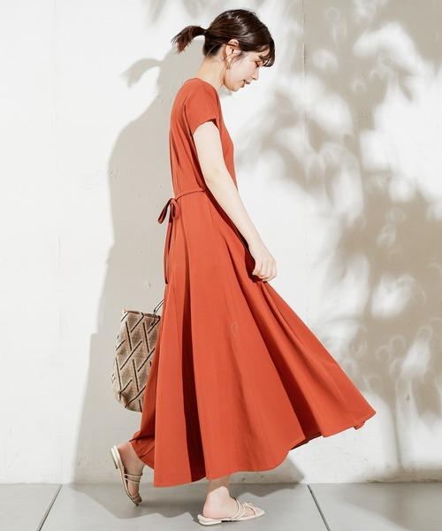 [natural couture] 【ZOZO限定】美シルエット細リボンカットフレアワンピース