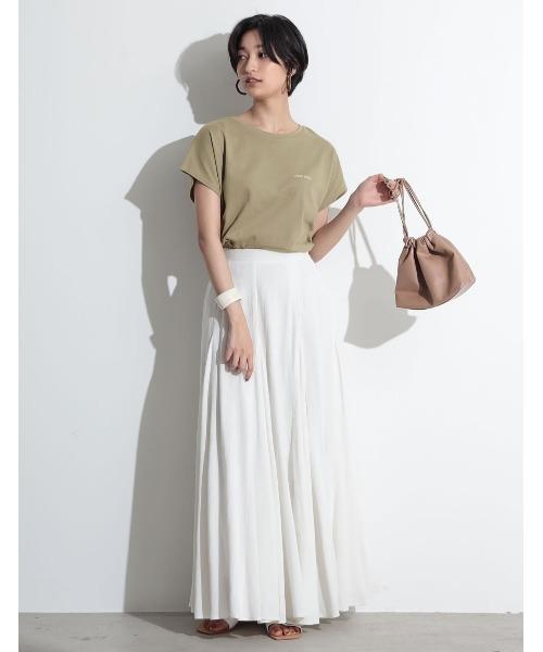 [Re:EDIT] [UVカット][抗菌防臭][お家で洗える]フレンチスリーブフロントロゴTシャツ