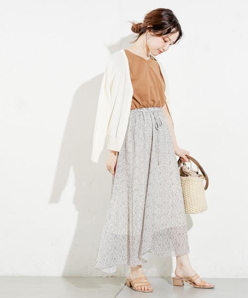 [natural couture] 【WEB限定カラー有り】カットドッキングアシメプリーツワンピース
