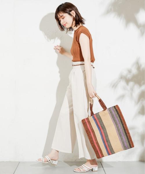 [natural couture] 便利なシンプルワイドリブニット