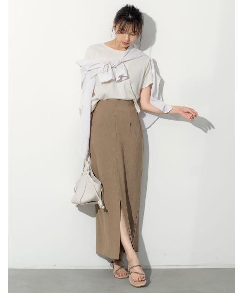 [Re:EDIT] [お家で洗える][低身長向けSサイズ対応]センタースリットストレッチタイトスカート