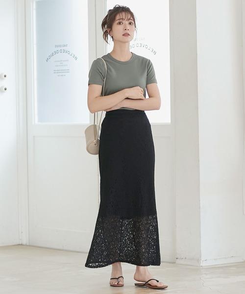 [kobelettuce] セミフレアレースロングスカート