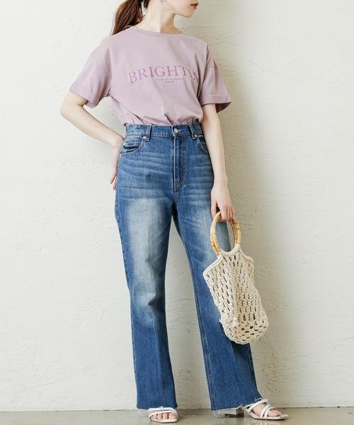 [natural couture] ロールアップBIGロゴT