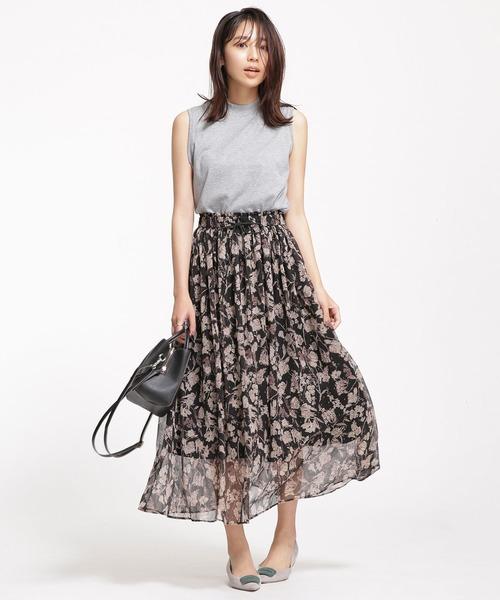 [nano・universe] ボタニカルプリントギャザースカート
