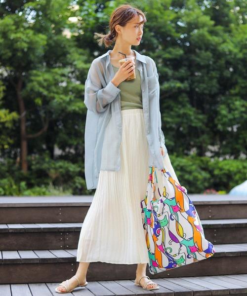 [Fashion Letter] デザイナーズ 折りたたみエコバッグ 大きめ