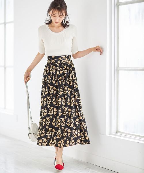 [tocco closet] 楊柳リーフフラワープリントスカート