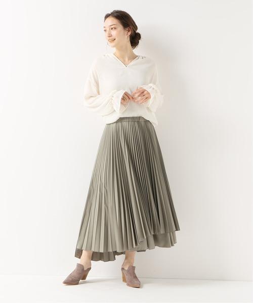 [Spick & Span] 【ORIVAR SAT】イレギュラーヘムプリーツスカート
