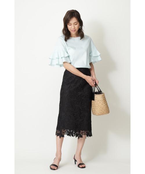 [NATURAL BEAUTY] フラワーレースストレートスカート