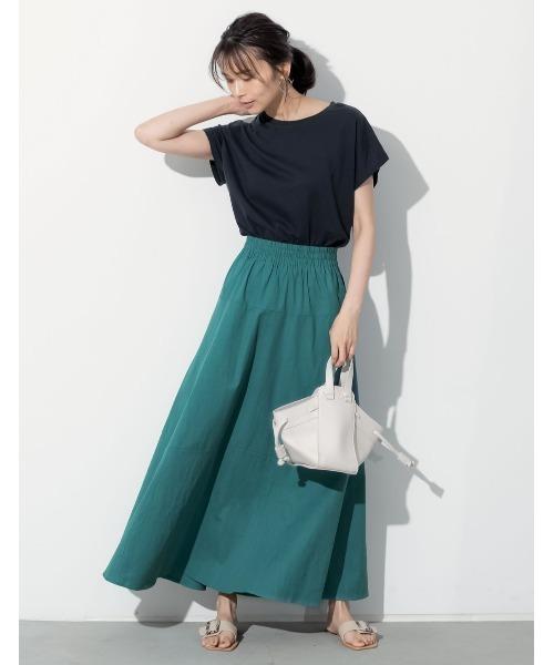 [Re:EDIT] [低身長向け/高身長向けサイズ対応][お家で洗える]リネンブレンド切替フレアスカート