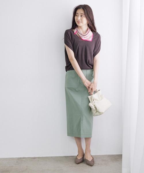[ROPE'] 【4サイズ展開】ポケット付きストレッチタイトスカート