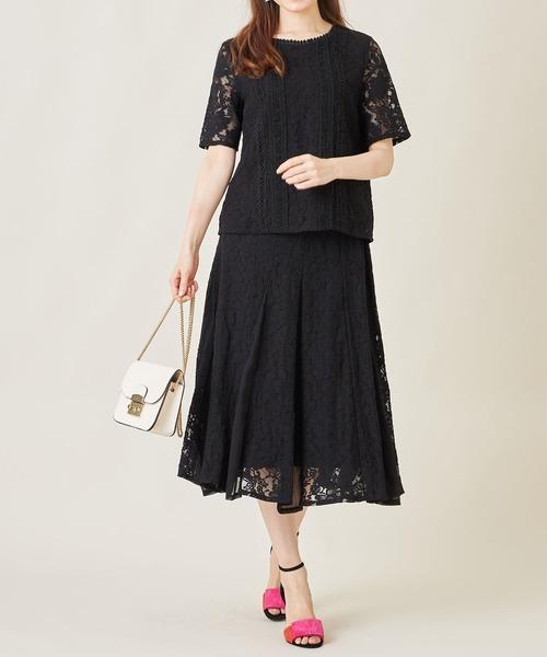 [tocco closet] ウエストラインレース装飾フラワーレース×シフォン切替スカート