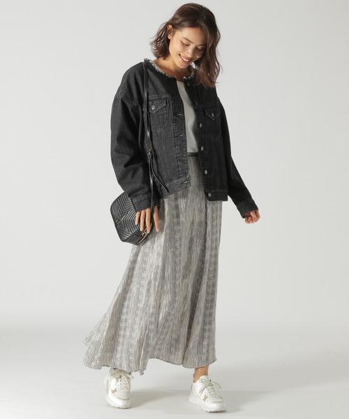 ノーカラージージャン×プリントスカート