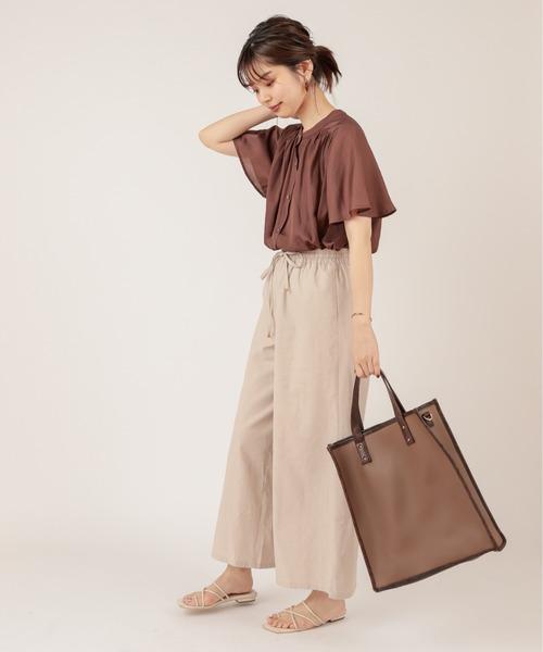 [natural couture] 【ZOZO限定】とろみサテンフレア袖ギャザーブラウス