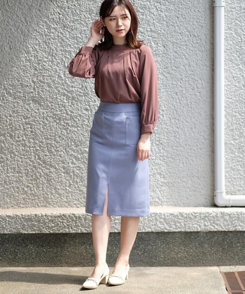 [ASTORIA ODIER] 【日本製】機能素材 フロントポケットタイトスカート