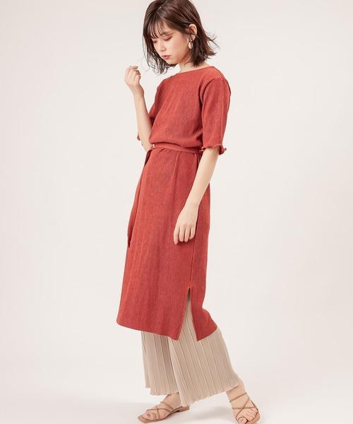 [natural couture] 【ZOZO限定】細ベルト付きワッシャーカットワンピース