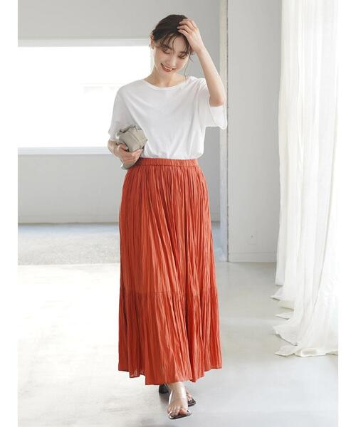 10月初旬の服装|半袖プルオーバー×ギャザースカート