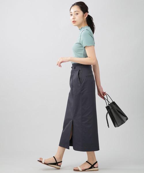 10月初旬の服装|リブメロートップス×スカート