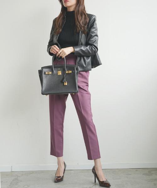 10月下旬の服装|ライダース×パープルパンツ