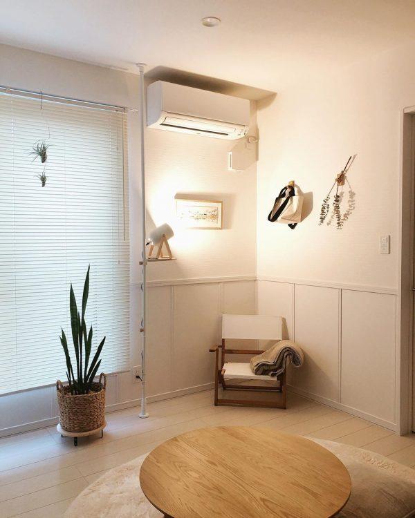 木×アイアンの家具で、統一感のあるリビングe