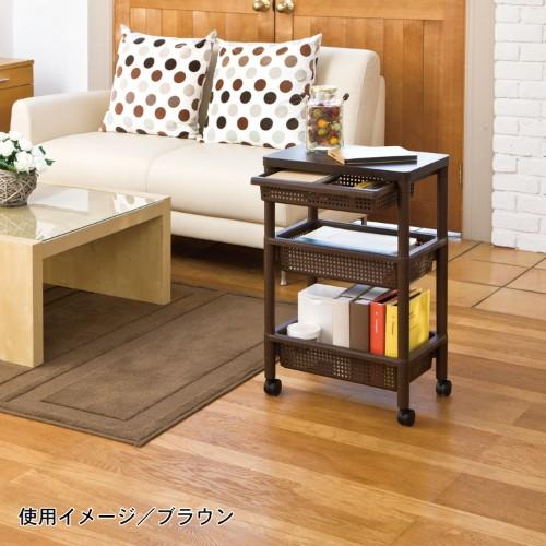 木×ポリプロピレンのキッチンワゴン