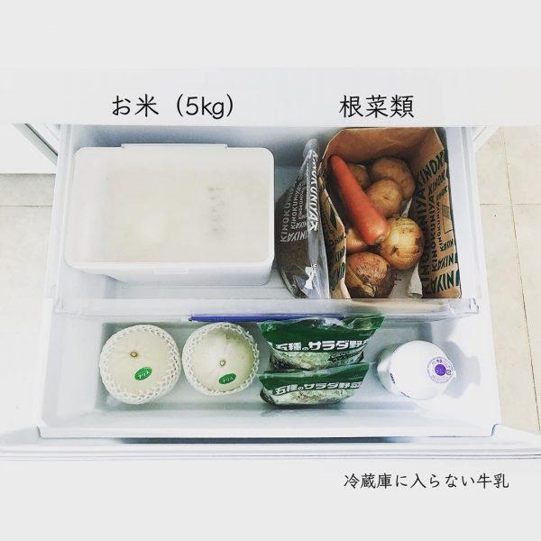 根菜類をまとめて紙袋に収納