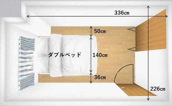 5畳の寝室ならダブルサイズのベッドがおすすめ