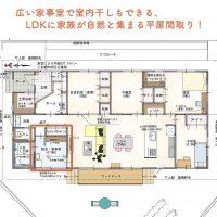 広い家事室で室内干しもできる、LDKに家族が自然と集まる平屋間取り!