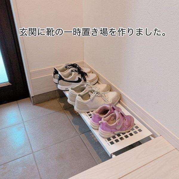 突っ張り棚で靴収納