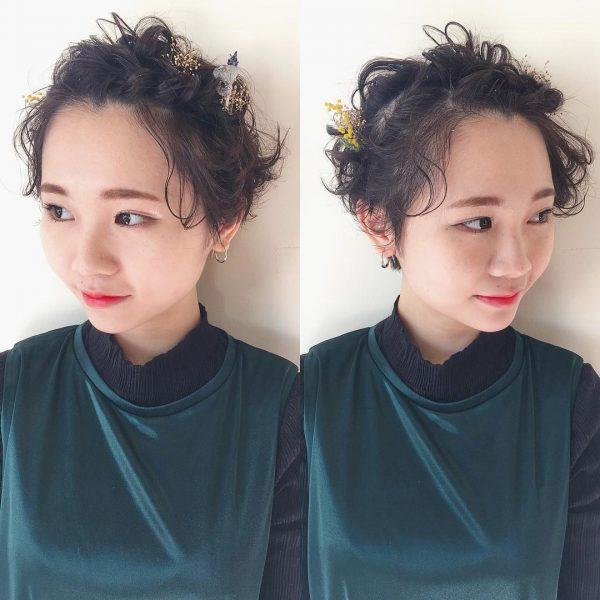 前髪編み込み×ショートヘアパーティーアレンジ