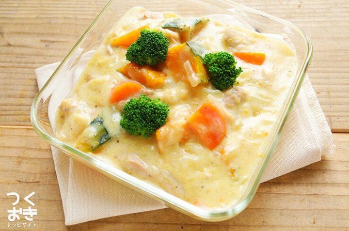 簡単な常備菜!鶏肉とかぼちゃのクリーム煮