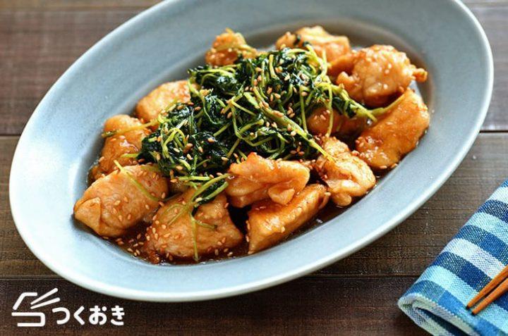 簡単レシピ!鶏むね肉の豆苗甘酢あん