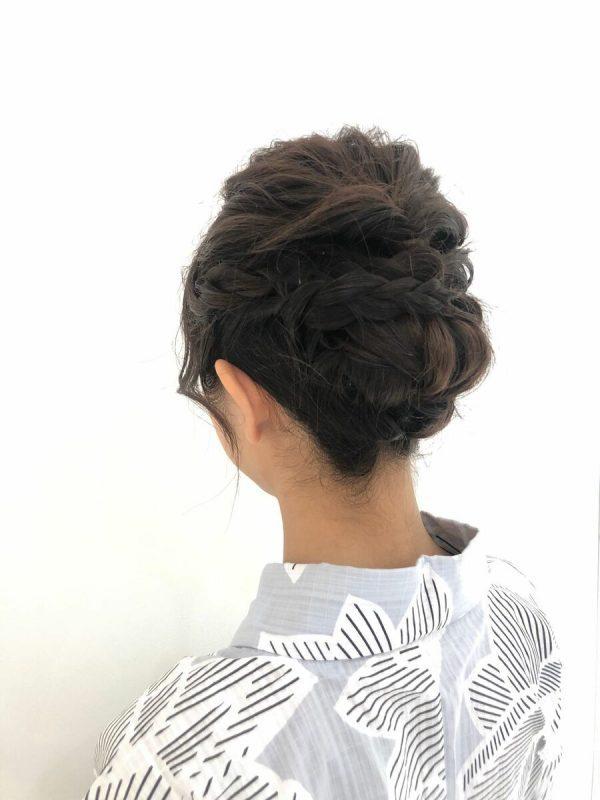 浴衣×黒髪でおすすめの髪型・セミロング2