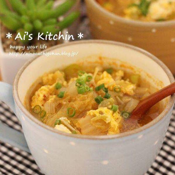 夜遅い食事の献立に!キムチと卵のスープ