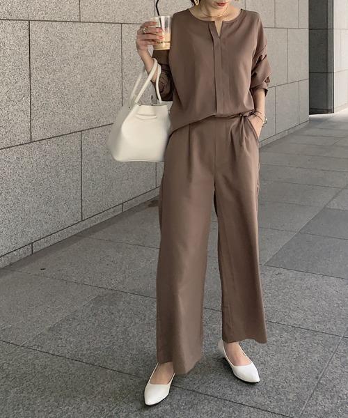 [kobelettuce] 着丈が選べるイージーワイドフレアパンツ【セットアップOK】