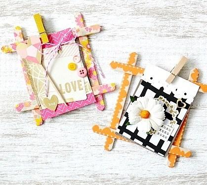 マスキングテープのフレームと木製ピンチの飾り方