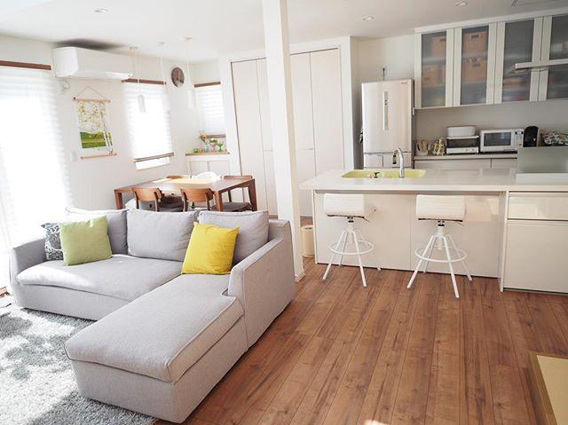 16畳を各スペースに区切ってレイアウト
