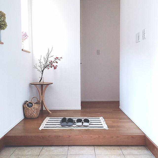 植物を使って玄関に立体感を出すアイデア実例