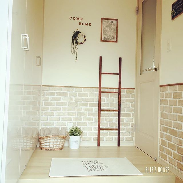 同系色の玄関マットのアイデア実例